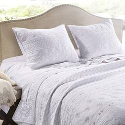 Greenland Home Milano Quilt Set, King, White