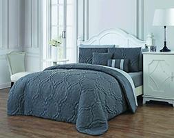 Avondale Manor MIN9QTKINGGHBW Nolie Quilt Set, King, Gray