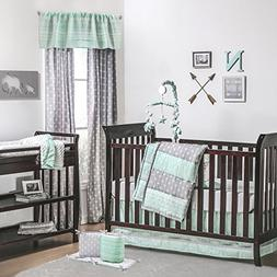 Mint and Grey Arrow Stripe 5 Piece Crib Bedding with Bumper