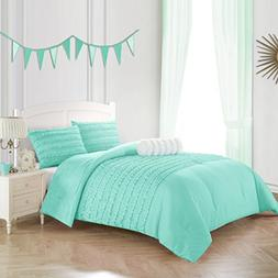 N2 3 Piece Mint Solid Color Textured Ruffle Comforter Set Fu
