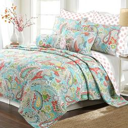 Mirage Paisley 3-Piece Reversible Quilt Set, Bedspread, Cove
