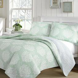 Laura Ashley Mist 3-Piece Quilt Set, Cotton, Twin/Full/Queen