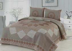 Mocha Dahlia Quilt Set King Queen Traditional Patchwork Moti