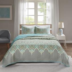 mona 3 piece quilt coverlet bedspread ultra