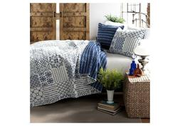 MONIQUE 3 PIECE REVERSIBLE QUILT & SHAMS SET KING BLUE & WHI