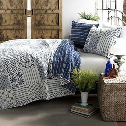 MONIQUE BLUE Full Queen QUILT SET : GEOMETRIC WHITE BLOCKS P