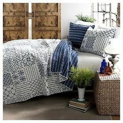 Lush Decor Monique 3-Piece Quilt Set, King, Blue New - No Ta