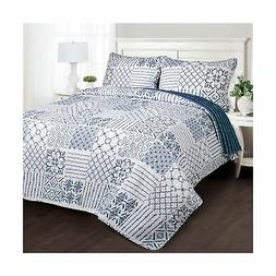 Lush Decor Monique 3-Piece Quilt Set, Full/Queen, Blue Brand