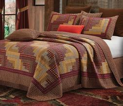 Montana Cabin Red/Tan Quilt Set Queen