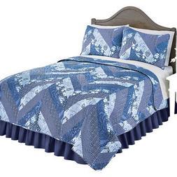 Monterry Blue Chevron Lightweight Quilt Set, Includes Quilt