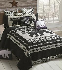 MOON BLACK BEAR 3p Full Queen QUILT SET : MOUNTAIN GREY PAW