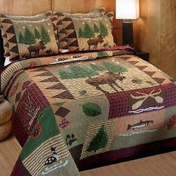 Greenland Home Moose Lodge Quilt & Sham Set 3-Piece  King