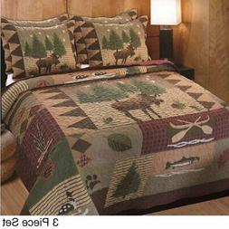 Greenland Home Fashions Moose Lodge - 3 Piece Quilt Set
