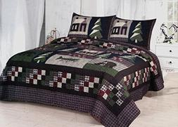 Mountain Trip - 3 Piece Queen Quilt Bedding Set