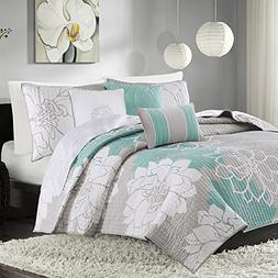 Madison Park Lola King/Cal King Size Quilt Bedding Set - Aqu