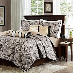 Madison Park Aubrey 6 Piece Quilted Coverlet Set, Black, Cal