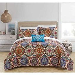 8 Piece Multi Paisley Pattern Quilt with Sheets Queen Set, B