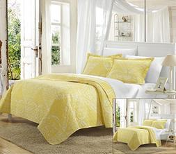 Chic Home 3 Piece Napoli Reversible Printed Quilt Set, Queen