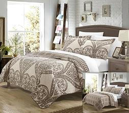 Chic Home 3 Piece Napoli Reversible Printed Quilt Set, King,
