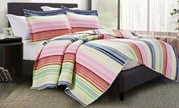 SPIRIT LINEN HOME Vintage Stripe King Napoli Collection 3PC