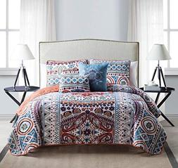 VCNY 5 Piece Natasha Quilt Set, King, Multicolor