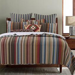 2 Piece Native Geometric Stripes Patterned Reversible Quilt