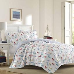 UKN 3 Piece Nautical Blue White Red Yellow King Quilt Set, S