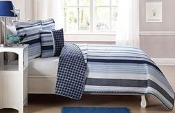 Elegant Home Multicolor Navy Light Blue White Elegant Stripe
