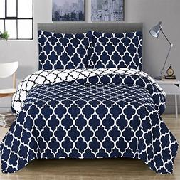 Navy and White Meridian King / California-King Coverlet 3pc