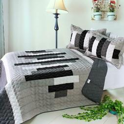 Neat Style Life 3 PC Vermicelli-Quilted Patchwork Quilt Set