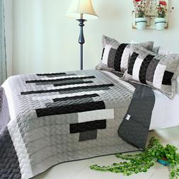 Neat Style Life 3PC Vermicelli-Quilted Patchwork Quilt Set