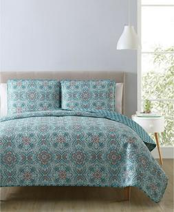 NEW VCNY HOME  3 Pc Full Queen Coverlet QUILT Set  Reversibl