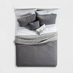 NEW JLA Home 5Pc Cole Stitched Chambray Quilt Set - Blush -