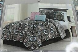 **NEW** Avondale Manor - 7-Piece Comforter Set - King - Blac