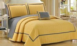 NEW Chic Home 8-Piece Brandyn Two-Toned Quilt Set - Yellow -