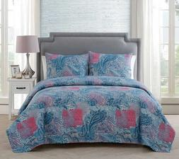 NEW VCNY Home Ava Paisley Pinsonic 3-piece Quilt Set Queen