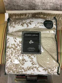 New Laura Ashley Bedford Cotton Reversible Quilt Set, Full/Q