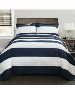 Lush Decor New Berlin Quilt Striped Pattern Bedding Set Full