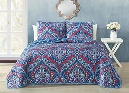 NEW Avondale Manor Cantara 3 Piece Quilt Set, King, Blue FRE
