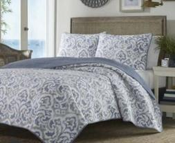 TOMMY BAHAMA Cape Verde Smoke Grey & Blue Cotton KING Quilt