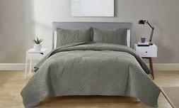NEW VCNY Home Chateau Lightweight Quilt Set 3PC - Gray - Siz