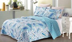 NEW Virah Bella Collection KING 3 piece Quilt Set Ayana Blue