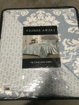 NEW Laura Ashley Delancy Duc Reversible Quilt & 2 Pillow Sha
