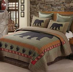 New Virah Bella Lodge Life 3Pc King Quilt Set,Bear and Paw C