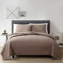 NEW Victoria Classics Nina Embossed Quilt Set 3 Piece - Taup