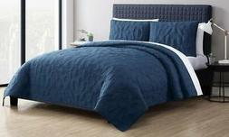NEW Victoria Lightweight Quilt Set 3 Piece - Navy - Size: Tw