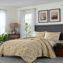 New Tommy Bahama Vintage Map 3-piece Quilt,Shams Set - Full/