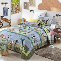 NEWLAKE Animal Kingdom Themed Comforter Sets , Twin Size
