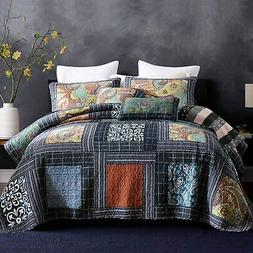 NEWLAKE Bedspread Quilt Set with Real Stitched Embroidery, P