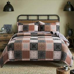 NEWLAKE Quilt Bedspread Sets-Paisley Floral Pattern Reversib